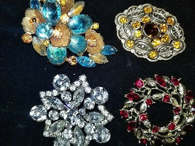 """Mixed Lot of 4 Stunning Vintage Rhinestone Brooches - 2"""" Size"""