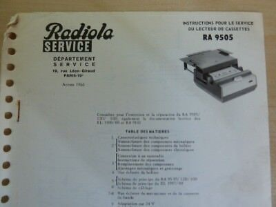 Doc. technique Autoradio Radiola RA 9505