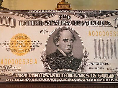 Limited Edition - Us 1934 $10,000 Gold Certificate Note - Large Canvas Artwork