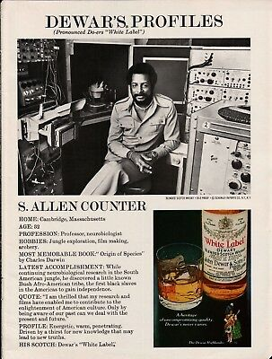 1979 Dewars White Label Blended Scotch Whisky African American Neurobiologist Ad