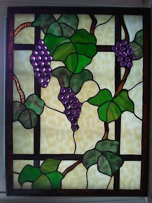 """Antique Stained Glass Window Panel Grapevine Art Tiffany Style 18"""" x 24"""""""
