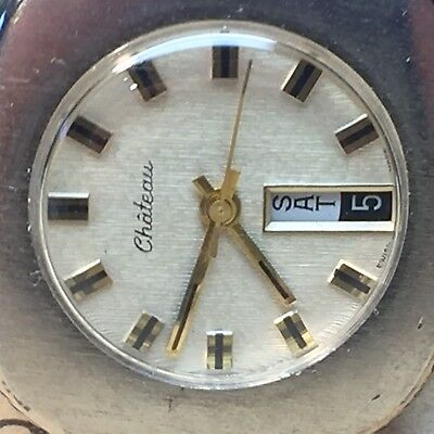 VINTAGE CHATEAU WRIST WATCH MECHANICAL WIND UP Calendar Day date SWISS MADE