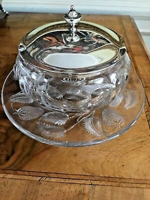 STUNNING Cut Glass STRAWBERRY Serving dish with STERLING Lid Frank Whiting