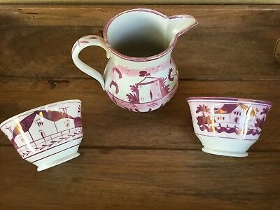 Antique Pink Lusterware Tea Lot ( Creamer With Two Handless Cups )