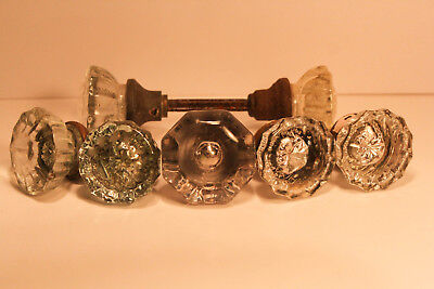 Antique Vintage Lot Glass Crystal Faceted Door knobs Mercury Glass