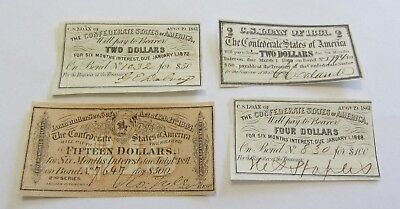Lot Of 4 Confederate Bond Coupons $2 $4 $15 Dated 1861 1864 Xf To Uncirculated