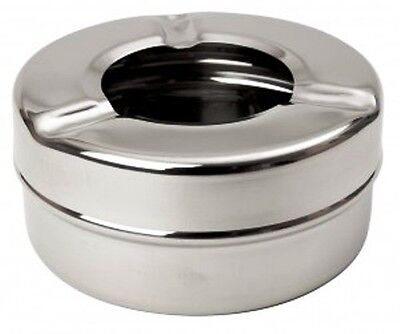 "Ashtray Windproof Stainless Steel 3 1/2"" Outside Ashtray Mirror Finish  B3706P"