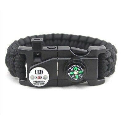 Paracord Armband Feuerstein LED Notfall set 20 in 1 Survival Outdoor EDC Set neu