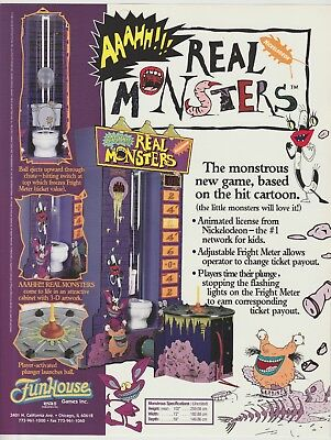 Real Monsters 1996 Funhouse Arcade Game Flyer Nickelodeon
