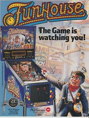 FunHouse Pinball Game Promotional Flyer 1990 Williams Rudy