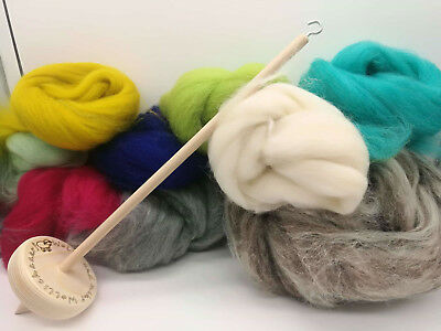 << Special Offer >> Hand Spindle Starterset Spindle and Wool 200 Gramm Worsted