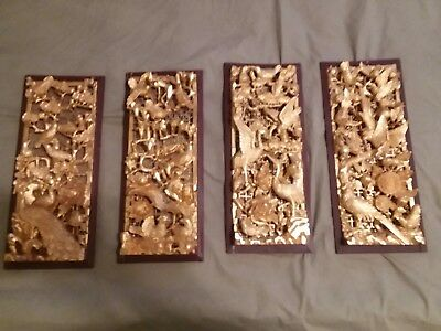 Vintage Chinese Hand Carved Wood Gold Gilded Panels 4 matching bird and  flowers