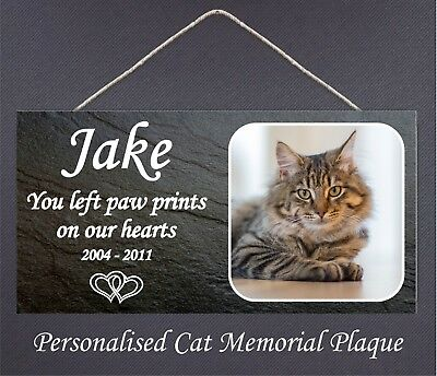 Pet Cat Photo Memorial Personalised Wooden Hanging Plaque Your Picture Name