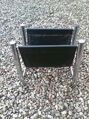1960 1970s retro boho   magazine rack CHROME and Black  Nice vintage item.