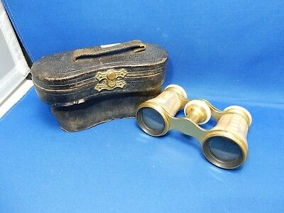 Vintage Lemaire Paris Mother or Pearl small Opera Glasses original leather case