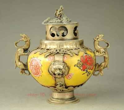 Antique Collectible Handmade Silver & Porcelain inlaid Incense Burner yellow