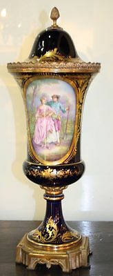 Antique French Porcelain Blue Vase in the style of Sèvres.1900