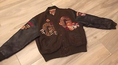Georges Marciano Guess Jeans Letterman Leather Jacket Boys Large Vintage Rare