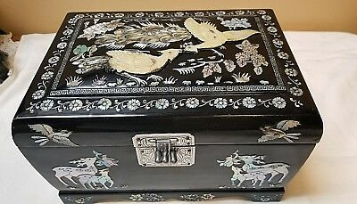"""9"""" Chinese Vtg Oriental  Asian Jewelry Box  Black Lacquer Mother-Of-Pearl Inlay"""