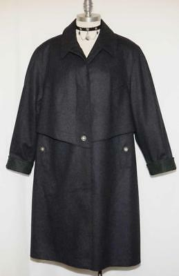 BOILED WOOL Long OVER COAT Winter Women German BLACK ~ WARM LINING Jacket XL 2XL