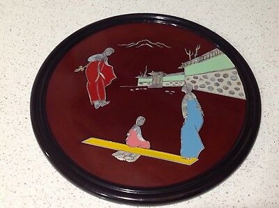 Vintage, Japanese, Giesha, Shaped Wooden Lacquer Tray, Mother of Pearl Inlay,