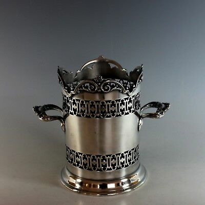Antique English Silver Plate Tall Wine Holder  with Cut Out Pattern