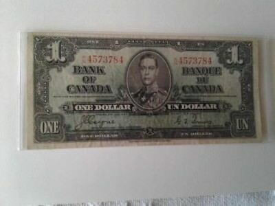 Bank Of Canada Vintage  Canadian One Dollar Bill $1 January 1937 Very Good Cond