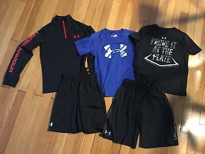 Lot of Under Armour Boy's Shirts & Shorts All Size Small GUC