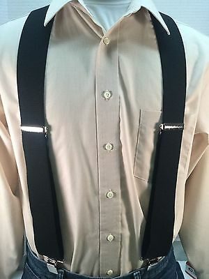 "New, Men's Black, XXL, 2"", Adj. Suspenders / Braces, Made in the U.S.A."