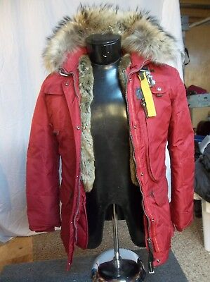 Woman's PARAJUMPERS Masterpiece Series Down Jacket Dark Red Size L Large w/fur