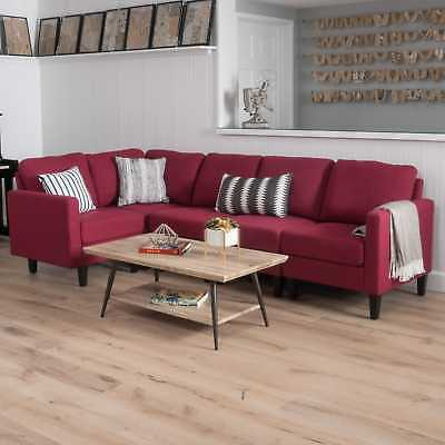 5 PIECE SOFA Sectional Sleeper Couch Fabric Convertible Living Room ...