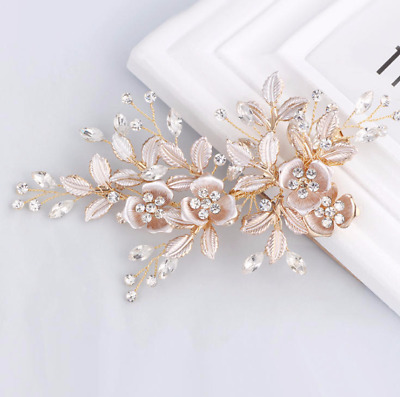Bridal glam vintage swarovski crystal hair comb.Rose Gold jewel wedding comb