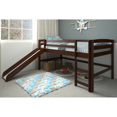 Brown Junior Loft Bed With Slide Twin Size Wooden Bunk Kids Play