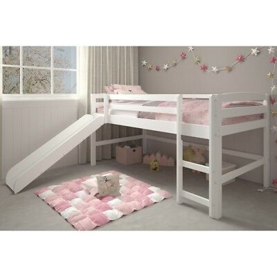 White Junior Loft Bed With Slide Twin Size Wooden Bunk Kids Play