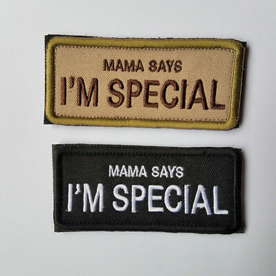 2 Pcs Mama Says I'm Special Tactical Morale Hook Loop Patch Embroidered Badge