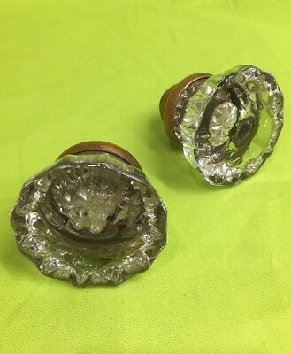 """2 Reclaimed Architectural Antique Door Knobs Brass And 12 Point Glass 2"""" Lot177"""