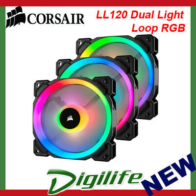 Corsair LL120 Dual Light Loop RGB LED 120mm PWM Fan - Three Pack with Controller