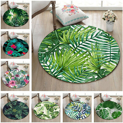 Tropical Watercolor Palm Leaves Pineapple Round Floor Mat Living Room Area Rugs