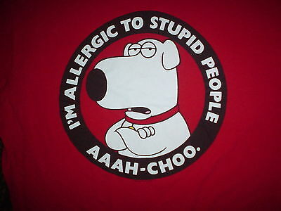 FAMILY GUY Brian Griffin I'm Alergic To Stupid People Old Large L Red T SHIRT