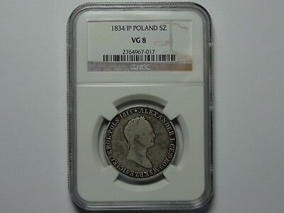 1834 Ip Poland Silver 5 Zlotych Ngc Vg-8 Better Date! Very Nice! Must See!!
