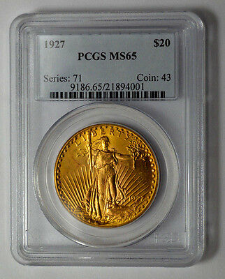 Amazing 1927  $20 PCGS MS65  GOLD ST. GAUDENS DOUBLE EAGLE !!!!