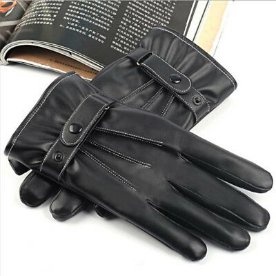 Ladies Black Genuine Leather Touch Screen Gloves Thermal Insulated Fleece Lined