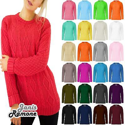 New Womens Crew Neck Chunky Cable Knitted Long Sleeve Warm Jumper Sweater Dress