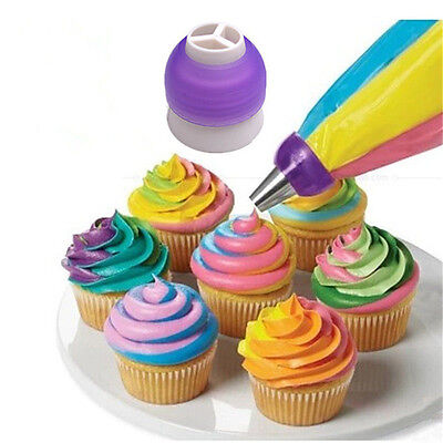 3 Color Cake Decorating Tools Icing Piping Cream Pastry Bag Nozzle Converter New