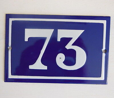 OLD FRENCH HOUSE NUMBER SIGN door gate PLATE PLAQUE Enamel steel metal 73 Blue