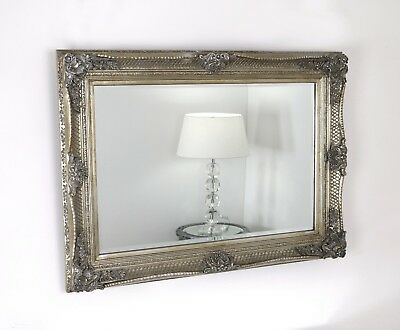 "Abbey Champagne Silver Rectangle Vintage Wall Mirror 38"" x 28"" (95cm x 70cm)"