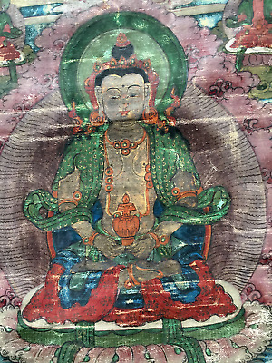 Antique Thangka Tibet 19. century Buddha Amitayus surrounded by his emanations