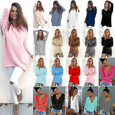 Womens Loose Knitted Sweater Winter Warm Jumper Pullover Knitwear Top Plus Size