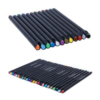 12 / 24 Colors Pen Set 0.4mm Fine Tip Line Writing Drawing Marker Pen
