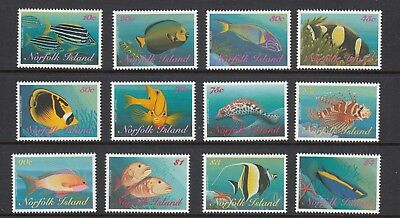 NORFOLK Island 1998 REEF FISHES Marine Life Fish  set of 12 to $4 MNH -